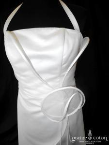 Suzanne Ermann - Jasmine blanc cassé (tour de cou bretelles satin tulle volutes dos boutonné)