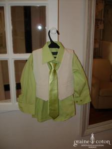 Les p'tits mecs - Chemise, gilet et cravate, ivoire et vert anis