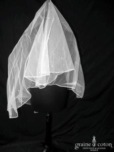 Pronuptia - Voile court en tulle ivoire clair brodé de fines perles