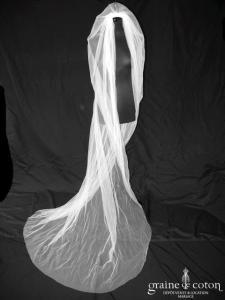 David Fielden - Voile long de 2,50 mètres en tulle ivoire clair
