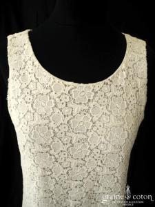 Tara Jarmon - Robe courte en dentelle de coton ivoire (bretelles)