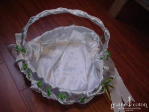 Panier à dragées - Blanc et vert anis