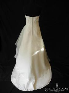 Pronuptia - Exquise (drapé taffetas organza vert d'eau dos boutonné bustier)