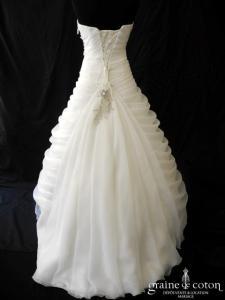 Elite Sposa - Robe drapée en organza drapé ivoire (strass laçage coeur)