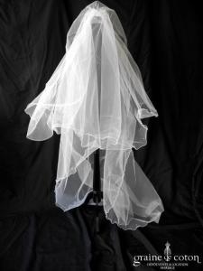 Cosmobella - Voile long de 3 mètres en tulle blanc orné de strass (avec rabat)