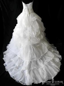 Cosmobella - Gilda (tulle pailleté organza blanche dentelle drapé empire laçage bustier)