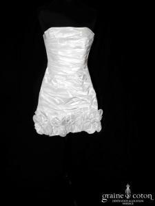 Cymbeline - Robe courte en taffetas drapé ivoire clair (bustier)