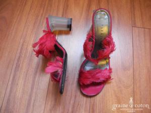 Parallèle - Mules (chaussures) en plumes fuchsia