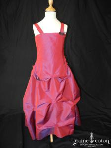 Robe de demoiselle d'honneur en taffetas violet/rouge