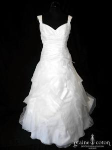 White One (Pronovias) - Talmira (gaze organza coeur drapé bretelles taille basse dos boutonné)