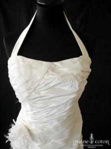 Linéa Raffaëlli - Robe en taffetas drapé avec tour de cou (tulle bretelles)