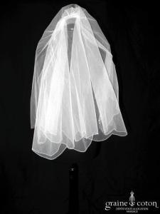 Hervé Mariage - Voile court en tulle blanc bordé de perles