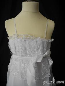 Robe de demoiselle d'honneur en dentelle et mousseline blanche