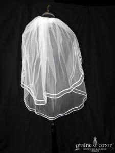 Voile mi long en tulle blanc bordé d'un double biais de satin