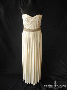 Lanvin - Création en jersey drapé doublé de satin de soie avec ceinture (coeur fluide)