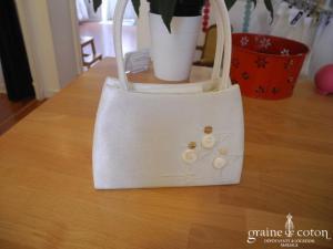 Pronuptia - Pochette en satin ivoire brodée de perles