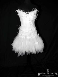 Max Chaoul - Collection I Love You - Robe courte et longue en mouchoirs de tulle (laçage papillons plumes bustier)