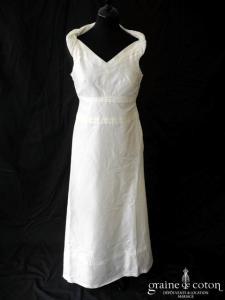 Création - Robe une pièce en soie sauvage ivoire clair (bretelles fluide drapé)