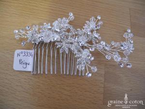 Bianco Evento - Peigne fleurs argentées et strass (0394)