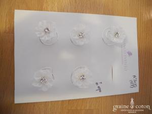 Bianco Evento - Lot de 6 curly fleur en organza ivoire (M7)