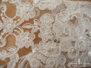 Bianco Evento - Mitaines courtes en dentelle ivoire