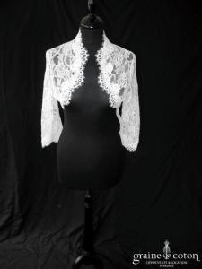 Bianco Evento - Boléro manches longues en dentelle ivoire (E162)