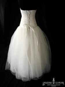 Juste un baiser - Robe taille basse en taffetas drapé et tulle ivoire clair (coeur laçage)