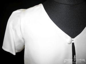 Création - Boléro en crêpe de soie à manches ballon courtes