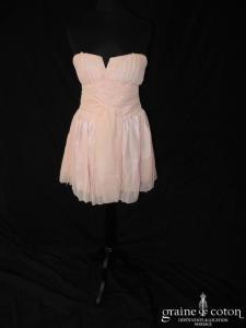 Toona Baba - Robe courte rose en mousseline drapée fluide