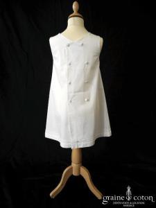 Hibiscus - Robe demoiselle d'honneur petite fille à larges bretelles blanche en coton