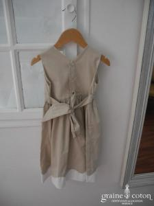 Hibiscus - Robe demoiselle d'honneur petite fille à larges bretelles en coton taupe