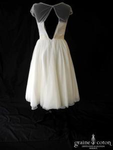 Jenny Packham - Nymphéa (courte mi longue fluide tulle de soie bretelles manches coeur dentelle années 50 vintage)
