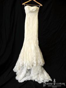 Pronovias - Balira (dentelle sirène empire tulle plissé fluide dos boutonné)
