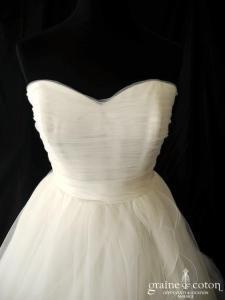 Cosmobella - Robe en tulle drapé ivoire clair (laçage coeur)
