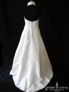 Eglantine Création - Robe en taffetas ivoire drapé avec tour de cou (tulle dos boutonné bretelle)