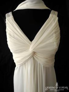 Fashion New York - Robe courte en tulle fluide ivoire (bretelles drapé décolleté V empire)