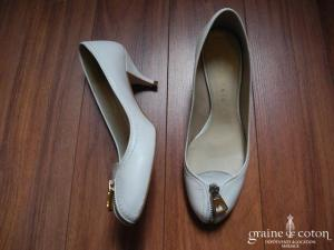 Zara - Ballerines à talons en cuir blanc
