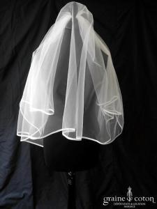 Pronuptia - Voile court de 1,50 mètre en tulle ivoire bordé d'un fin biais de satin