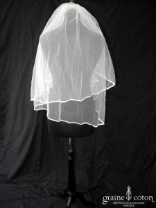 Voile court en tulle ivoire bordé d'un biais de satin