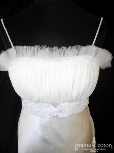 Hernan Zajar - Création en satin de soie ivoire (empire fluide mousseline dentelle plissé bretelles)