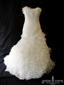 Pronovias - Fantastica (dentelle taille basse sirène mouchoirs tulle plissé bustier)