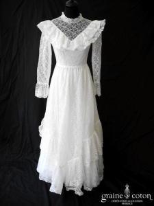 Pronuptia vintage 70's - Robe en dentelle avec manches longues