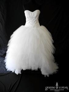 Coeur d'Amour - Création en satin et mouchoirs de tulle blanche (courte et mi longue laçage coeur drapé bustier)