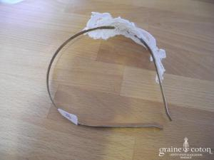 Serre-tête / headband avec guipure de dentelle ivoire