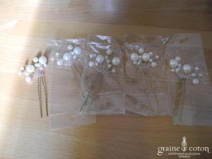 Lot de 5 pics perles ivoire