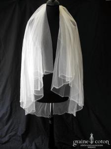 Pronovias - Voile mi long en tulle ivoire bordé de fines perles (avec rabat)