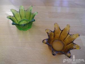 Photophore orangé ou vert forme fleur