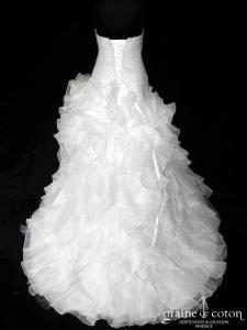 Divina Sposa - Modèle 142-36 (taille basse drapé organza blanche volants laçage coeur)