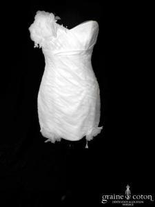 Illy Tulle - Mangoustan (courte tulle drapé dentelle empire dos boutonné coeur bustier)