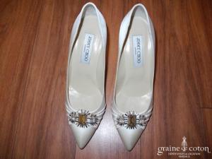 Jimmy Choo - Escarpins (chaussures) en satin de soie ivoire